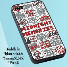 "1D Midnight Memories Collage Print on Hard Plastic For iPhone 5 Case  This case is available for: iPhone 4/4S iPhone 5/5S iPhone 6 4.7"" screen Samsung Galaxy S4 Samsung Galaxy S5 iPod 4 iPod 5  Please"
