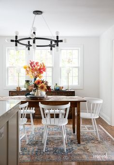 Fall Decorating in My Dining Room #fall #decor #decorating #diningroom #styling Autumn Inspiration, Home Decor Inspiration, Dining Room, Dining Table, Vintage Sideboard, Vintage Chairs, Wood Cabinets, Seasonal Decor, House Colors