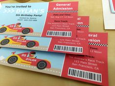 Give a fun twist to kids birthday party #invitations by making them into a race event admission ticket! From mrpartyideas.com.