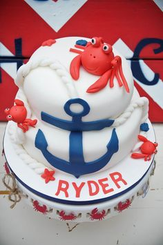 Great crab cake for nautical party! Beautiful Cakes, Amazing Cakes, Anchor Cakes, Nautical Cake, Nautical Party, Crab Party, Crab Cakes, Occasion Cakes, Fancy Cakes