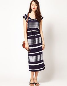Enlarge Whistles Charlotte Jersey Maxi Dress in Stripe