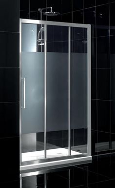 Bathroom photo frosted modern glass shower sliding door for Puertas para regadera