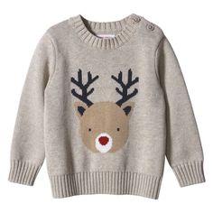 Baby Boys' Animal Sweater - Oat Mix by Joe Fresh Tacky Christmas Sweater, Reindeer Sweater, Party Fashion, Boy Fashion, Crochet Shoes Pattern, Animal Sweater, Knitwear Fashion, Christmas Fashion, Cool Sweaters