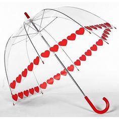 Red HEART Love Trim Clear Dome See Through Bubble Umbrella #Frankford #Fashion