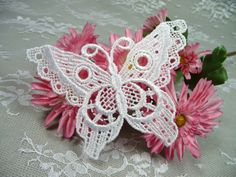 Lace Applique Butterflies One Pair Ivory Trim for by TheSwanPond