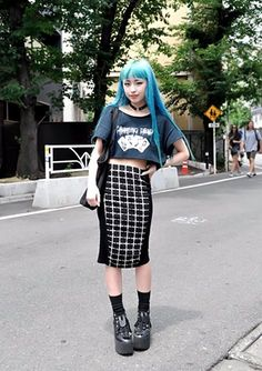 Blue hair and an awesome skirt