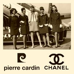 Olympic Airways vintage fashionable uniforms by Coco Chanel 1966 - 1968, by Pierre Gardin 1969 - 1971 at Athens Hellinikon old international airport (collage with photos from Pinterest)