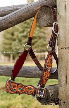 Hooligan Designs carved leather bronc halter with turquoise filagree Western Bridles, Western Horse Tack, Headstalls For Horses, Horse Halters, Bronc Halter, Leather Halter, Barrel Racing Horses, Horse Supplies, Horse Gear