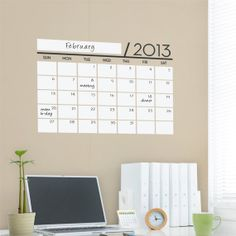 Dry Erase Wall Calendar - Dry Erase Decals - by Simple Shapes. $35.00, via Etsy.