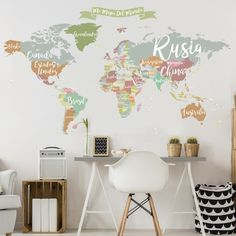 Vinilo decorativo mapamundi nombres de países
