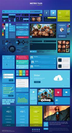 Free Download: Metro Tiles UI Kit (PSD) by PixelKit