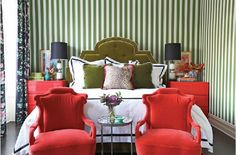 8 Upholstered Chairs That will upgrade your bedroom interior design Bedroom Red, Interior, Bedroom Interior, Bedroom Green, Home Decor, Eclectic Bedroom, Interior Design, Interior Design Bedroom, Striped Walls