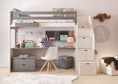 Habitación Infantil: Litera XL diáfana con zona estudio inferior.   Litera XL diáfana con zona estudio inferior y escalera de 4 peldaños.