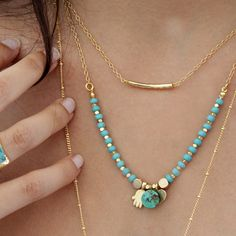 Turquoise & Gold Necklace, Delicate Beaded Turquoise Necklace, Gemstones Necklace Gold Layered Necklace Set, Double Strand Bar Necklace, By Inbal