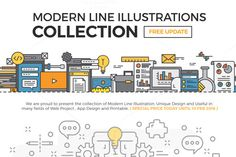 Modern Line Illustrations Collection by .C-Du on Creative Market
