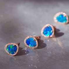 14kt gold and diamond free form opal studs – Luna Skye by Samantha Conn