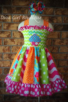 Boutique Girls Birthday Dress Custom Cupcake Dress and Boutique Hair Bow Childrens Clothing Pageant Dress OOC Size 7/8 9/10 11/12