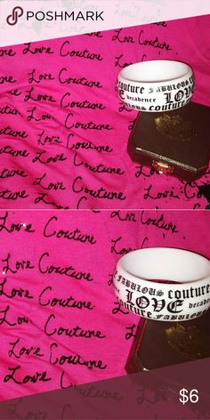 Large Juicy Couture bangle Large chunky fabulous couture b&w bangle. For me it cost $29 but for you $6. Bundle ur favs and make me an offer Juicy Couture Jewelry Bracelets