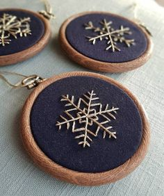 Set of 3 Hand Embroidered Christmas Tree Decorations, Christmas Snowflake Baubles, Contemporary Festive Decorations, Navy Blue & Gold - Check out this item in my shop: www.paraffle-embr… Check out this item in my shop: www.paraffle-e - Ribbon On Christmas Tree, Black Christmas, Christmas Snowflakes, Christmas Tree Decorations, Christmas Crafts, Etsy Christmas, Snowflake Decorations, Christmas Embroidery Patterns, Embroidery Hoop Art