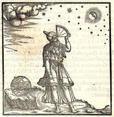 Tolomeo, empleando un cuadrante, apuntando hacia la Luna, ilustración de los principios de la astrología, 1564.