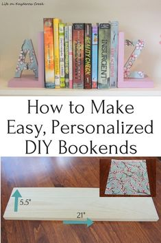 to make your own personalized bookends in no time - easy and budget friendly diy bookends using scrapbook paper and pine boards from Life on Kaydeross Creek Kids Woodworking Projects, Wood Projects For Beginners, Woodworking Logo, Diy Wood Projects, Diy Bottle Opener, Farmhouse Decor, Red Farmhouse, Modern Farmhouse, Diy Home Decor