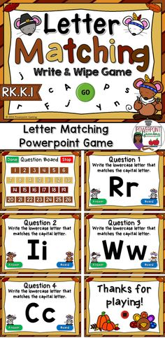 Engage students with this fun, interactive alphabet game. In this Write & Wipe powerpoint game, students are writing lowercase letters that match the capital letter.
