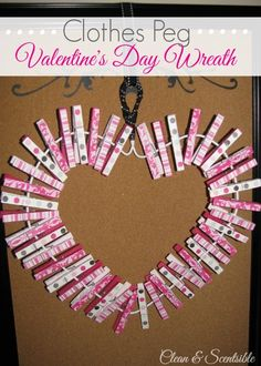 """Valentine's Day Clothespin Wreath - This is a great way to display """"love notes"""" or favorite photos! Santos, Valentines, One Day, Crowns, Love"""