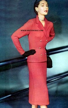 Red Slim Fitting Suit knitting pattern from the 1950s