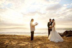 Intimate beach wedding on Maui, Hawaii at sunset - Anna Kim Photography