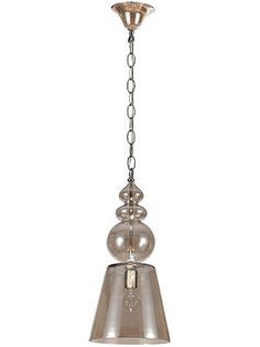 Harper Large Cognac Glass Pendant With Chrome Accents | House of Antique Hardware