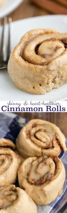 Heart Healthier Skinny Cinnamon Rolls - all the flavor without the guilt. These rolls have no butter and are 100% whole wheat.