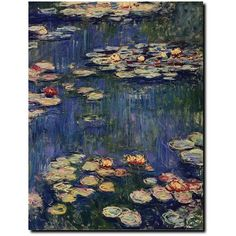 Water Lilies Canvas Wall Art by Claude Monet ($91) ❤ liked on Polyvore featuring home, home decor, wall art, multicolor, canvas home decor, colorful wall art, canvas wall art, colorful canvas wall art and vertical wall art