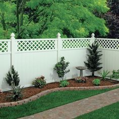 Gatehouse Arborley White Lattice-top Privacy Vinyl Fence Panel (common: 72-in X…