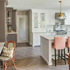 Pink and Gray KItchen, Transitional, kitchen, Benjamin Moore Silhouette, Rue Magazine
