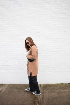 The first two outfits of my #winter10x10 - The Thoughtful Closet | Pieces | vintage blouse, Elizabeth Suzann Florence pants in linen | Madewell Kent cardigan | converse | vintage fanny pack