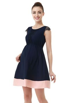 Zoey Lace Trimmed Colorblock Maternity Dress in Navy with Blush Accent. Please use coupon code NewProducts to receive 15% off these items. To receive the discount, please place your order by midnight Monday, March 28, 2016