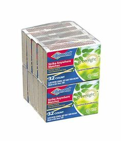 24Packs of 10Packs of 32ct Diamond Green Light Penny Matches by Jarden Home Brands. $15.62. Diamond strike anywhere are going green  each match is made from responsibly managed forests to offer the superior diamond quality. Certified by forest stewardship council. New earth in mind solutions nomenclature calls out eco-benefits. Packaging made from 100% recycled materials. Matches are made proudly in the usa. Diamond 32 Ct (10-Pack) 'Strike Anywhere' Penny Matches in bo...