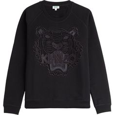 Kenzo Embroidered Cotton Sweatshirt (5 510 UAH) ❤ liked on Polyvore featuring tops, hoodies, sweatshirts, black, long sleeve cotton tops, long sleeve tops, sweat shirts, sweatshirt hoodies and black sweat shirt