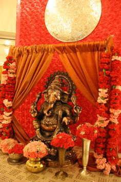 Ganesh welcome table. Indian weddings. www.laxstates.com Indian Wedding, Sangeet, Garba, Indian Wedding Decor
