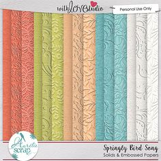 "Embossed & Solids Papers ""Springly Bird Song "" by Aurélie Scrap. It contains : 10 embossed papers & 5 solids papers"