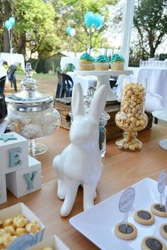 The blue and white colour scheme made for a gorgeous candy table