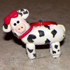 Polymer Clay Cow Christmas Ornament | Polymer Clay | Pinterest ...