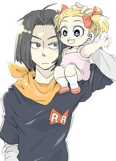 Cyborg 17 and his niece Marron- Dragonball Z Dragon Ball Gt, Dragon Ball Z Shirt, Pokemon Fairy, Dbz Characters, Dragon Images, A 17, Kids Z, Character Design, Photos