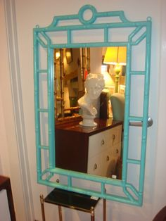 faux bamboo picture frames and mirror painted orange - Google Search
