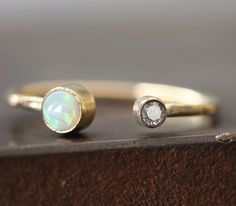 Alexis Russell <<>>Open Cuff Diamond + Opal Ring