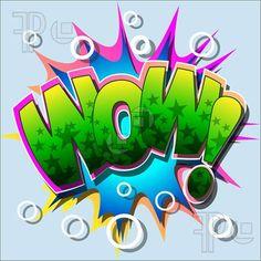 Fine Art: A Wow Comic Book Illustration- Fine Art: A Wow Comic Book Illustration Wow Comic Book Illustration - Graffiti Words, Graffiti Wall Art, Graffiti Alphabet, Street Art Graffiti, Graffiti Artists, Graffiti Designs, Art Pop, Love Story Comic, Word Art