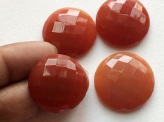WHOLESALE 10 Pcs Carnelian Stones Checkered Both by gemsforjewels