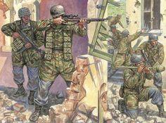 1943 con. Paracaidistas alemanes combate poblaciones
