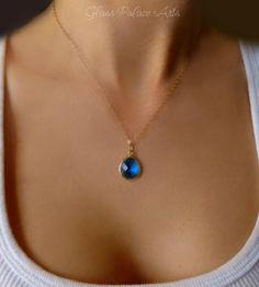 Simple Sapphire Necklace - Royal Blue Sapphire Necklace