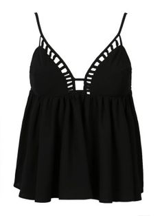Black Cut Out Cupped Swing Cami Top